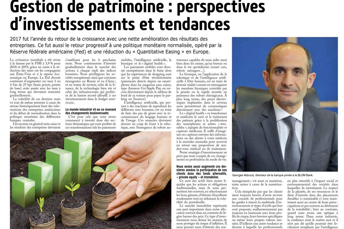 Gestion de Patrimoine: Perspectives d'investissements et Tendances.